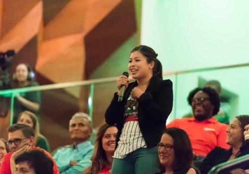 ASCSU President Daniela Pineda-Soraca asks questions after journalist Maria Hinojosa's keynote speech at the 2016 Diversity Symposium, September 20, 2016, at Colorado State University.