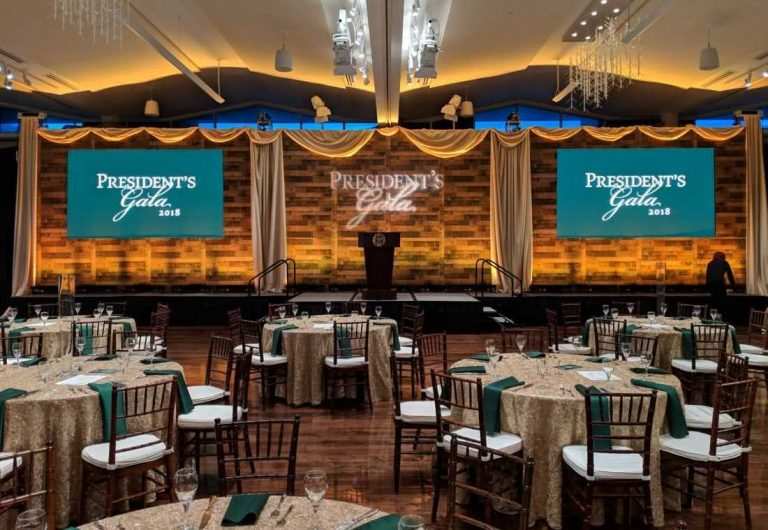LSC Ballroom decorated for a president's gala